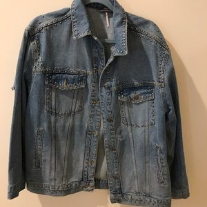 Free people studded oversized jean jacket